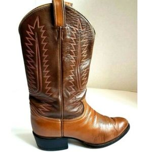 Vintage Tony Lama Cowboy Men's Brown Leather Boots